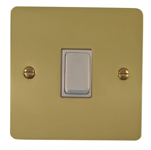 G&H FB1W Flat Plate Polished Brass 1 Gang 1 or 2 Way Rocker Light Switch